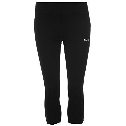 USA Pro Damen Training Leggings 3/4 Sporthose Fitness Capri Leicht Trainingshose Schwarz 20 (XXXL)
