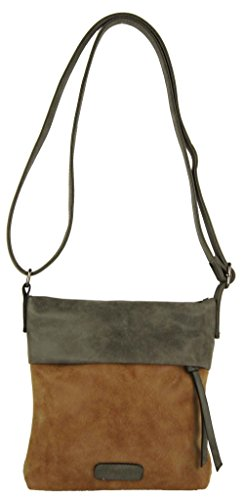 CASAdiNOVA Damen Umhängetasche Klein Braun Handtasche Tasche Leder Camel Vegan Used Look Vintage Neu Herbst 2018 Small