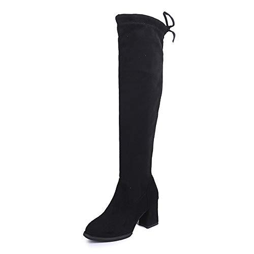 Tragen Knie-stiefel (Frauen Tragen Knie High Heels Und Spitzen Stiefeln,37,Schwarz)