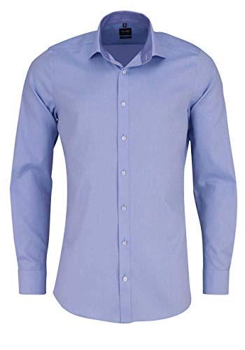 OLYMP Level Five Body fit Hemd Langarm Muster hellblau Größe 42