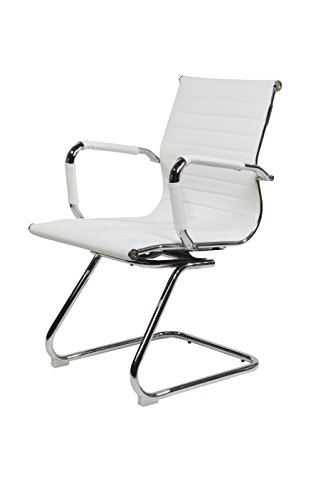 SVITA Design Bürostuhl Chrom Rahmen Elegance Chefsessel Drehstuhl Konferenz-Stuhl (Weiß,...