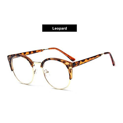YMTP Cat Eye Brillen Rahmen Transparente Gläser Half Frames Übergroße Brillen Optische Spektakel Kurzsichtige Brillen Frauen, Leopard