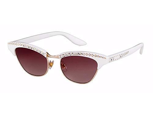 Sonnenbrille Strass Sexy Katze Augen Sonnenbrille Frauen Schattierungen Brillen Uv 400 Weißen Rahmen Braun Linse