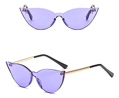 WSKPE Sonnenbrille,Women's Katze Brille Candy Color Sonnenbrille Lila Objektiv