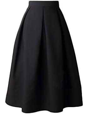 HaiDean Faldas Mujer Elegantes Cintura Alta Falda Plisada Años 50 A-Line Vintage Modernas Casual Color Solido...