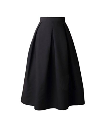 Faldas Mujer Elegantes Cintura Alta Falda Plisada Años 50 A-Line Vintage Moda Color Solido Faldas Midi Falda Medium Largos Retro Ropa para Adolescentes