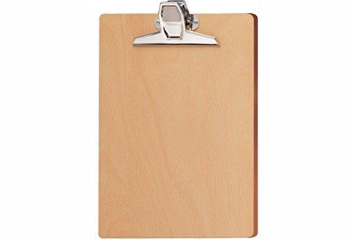 (Maul Schreibplatte Holz, DIN A4, Hoher Metallklemmer Aufhängbar, 2396070, 322x22x39 mm (LxBxT), 1 Stück)