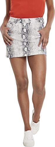 Urban Classics Damen Ladies Animal Stretch Twill Skirt Kleid, Mehrfarbig (Offwhite Snake 02049), Medium (Herstellergröße: M) - Mädchen Stretch-twill Rock