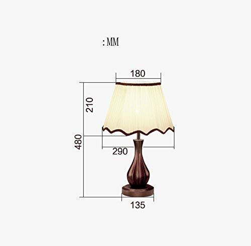 ZLL Household Bedside Table Lamp, Decoration Desk Lamp, Studentye Protection Table Lamp, Home Hotel Lighting Solid Wood Retro Desk Lamp, Bedroom Bedside Lamp Wedding Room Decorative Desk Lamp Hotel L - Full Spray Push Button
