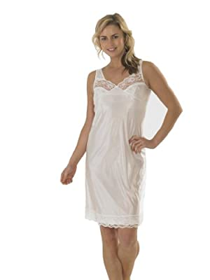 Womens/Ladies Anti Static Full Slip Underskirt Built Up Shoulder With Front & Bottom Lace, Various Sizes
