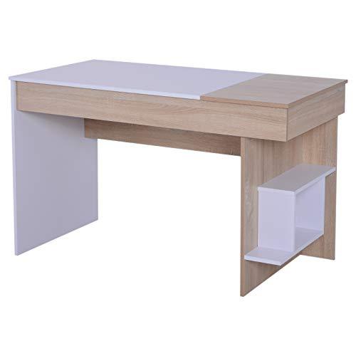 HOMCOM Mesa de Ordenador Escritorio de Oficina Hogar Tapa Abatible con 2 Compartimientos y Estantes Diseño Compacto 120x60x74cm