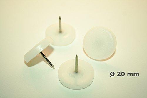 16pezzi feltrini plastica aliante con chiodo-Ø 20mm-Bianco-per sedie e altri mobili