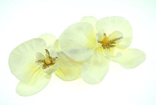 clarigo Haarspange Haarklemme Orchidee weiß creme Hochzeit Kommunion Blumen Blumenmädchen