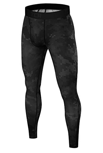 TCA Pro Performance Digital Combat Herren Kompressionshose Lang Base Layer Funktionswäsche - Schwarz, L (Digital Short Camo)