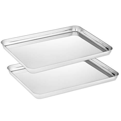 Velaze Set 2 Teglie da Forno in Acciaio Inox, Teglia Vassoio Rettangolare per Pane, Biscotti, Pizza e Torte, Atossico e...