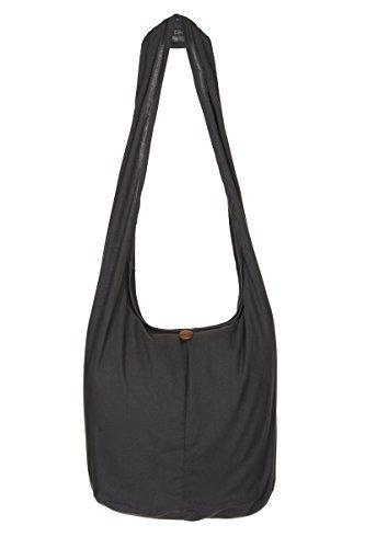 ThaiUK Damen Hippie-Tasche mit Schulterriemen, Boho-Stil, 100 % Baumwolle Grau - Grau