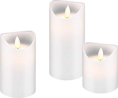 Goobay-Juego de 3Velas LED de Cera, Color Blanco-Juego de 10, 12,5y 15cm de Alto Velas