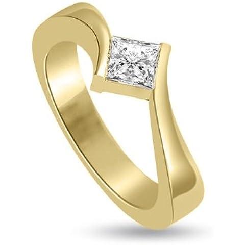 0.55ct F/VS1 Solitario Diamante Fidanzamento Anello da Donna con Princess diamante in 18kt Oro giallo - Giallo Tensione In Oro Anello