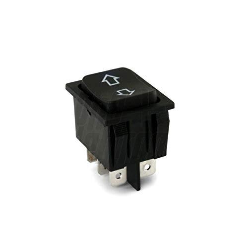 DEVIATORE BIPOLARE A BILANCIERE PER AUTO Cod. 24.5550.00 - Tasto: Nero - Funzione: (ON)-OFF-(ON) - Tipo: DPDT - N. terminali: 6 - Portata: 35A 12VDC - Resistenza di contatto: 50m? max - Rigidità dielettrica: 1 minuto 1500V AC - Temperatura di esercizio: -25°C~+85°C - Tipo terminali: faston 6,3mm - Serigrafia: < >