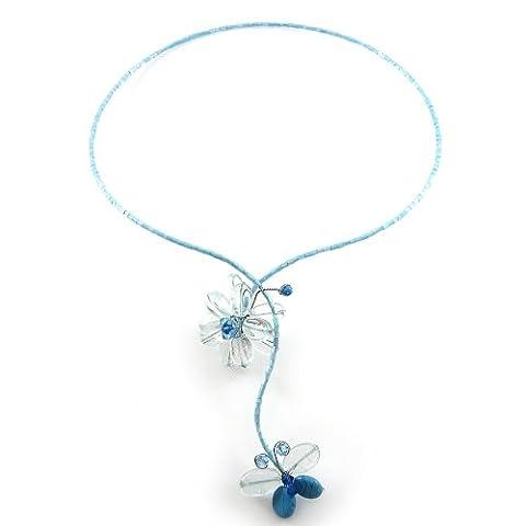 MGD - Blau Swarovski Kristall Halsreif Kette Collier mit Blau Türkis Perlen Blumen und Schmetterling Anhänger - Y-Kette - Strangkette - Halskette - Schöne Handgemachte Mode Schmuck - JA-0095N