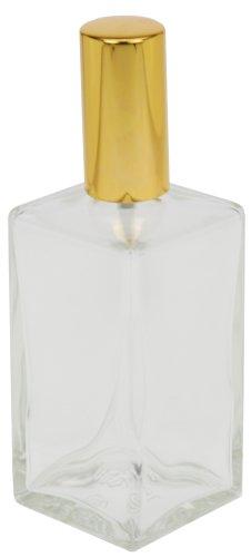 Fantasia, vaporizzatore per profumo vuoto, in vetro trasparente, 46195, rettangolare, con pompa e coperchio dorato, 100 ml