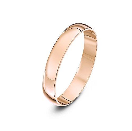 Theia Anillo de Bodas de Oro Rosa, 9k, Unisex, Forma de D Pesado, Pulido, 3mm - Tamaño 15.5