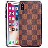 iPhone braun Karierte Fall, High Fashion Slim Stabiler Leder Textur für Apple iPhone, iPhone X / 10, Brown Checker Pattern Louis Vuitton Iphone Fällen