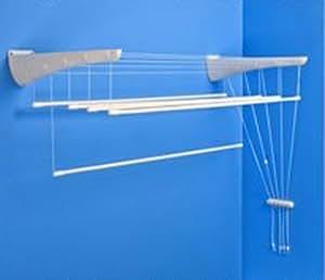 tendoir linge suspendu etend 39 mieux fixer au mur 5 barres largeur 47cm x 1m30 capacit. Black Bedroom Furniture Sets. Home Design Ideas