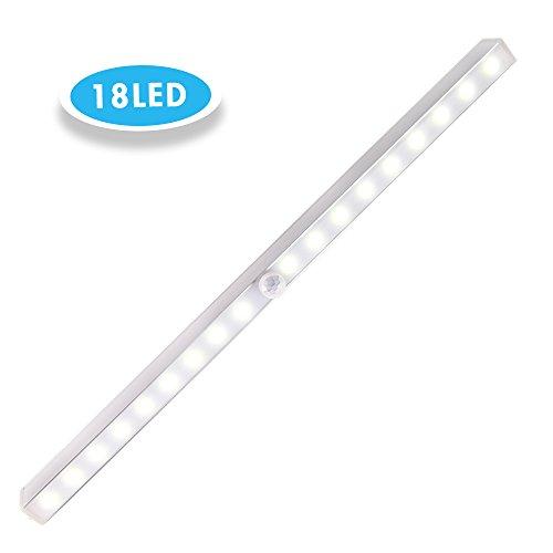 Schranklicht Mit Bewegungsmelder 18 LEDs, Cynthia automatische Schrankleuchte, Ideal für Wandschrank, Kleiderschrank und Innenhaus, 3 Modi weiß