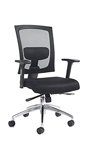 DAMS 300 Series Gemini Chair with Adjustable Arms, Leather, Black