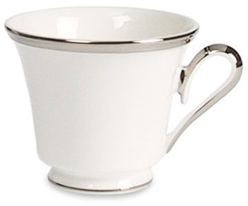 Lenox Solitaire White Platinum Banded Bone China Cup by Lenox Lenox Solitaire Platinum