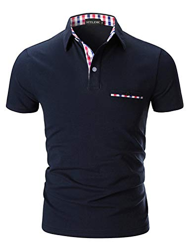 STTLZMC Poloshirt Herren Kurzarm Basic T-Shirt Freizeit Plaid spleißen Polohemd,Blau 1,XXL