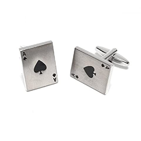 Mens Shirt Accessories - Brushed FInish Ace of Spades Cufflinks (With Black Presentation Box) - Novelty Casino Theme