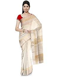 R K Chouhan Maheshwar Maheshwari Handloom Cotton & Silk Saree (White)