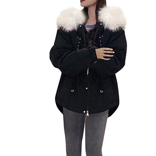 SUPPLYMY Damen Winterjacke Warm Gefüttert Jacke Mantel Fell Kapuzenjacke Langarm Kapuzen Reißverschluss Parka Jacke Tunnelzug in der Taille locker kurze Daunenjacke