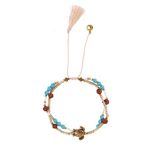 Surfer-Armband Schildkröte Damen Perlen-Armband Made by Nami - mit Anhänger, Perlen, Schildkröte Gold/Beige