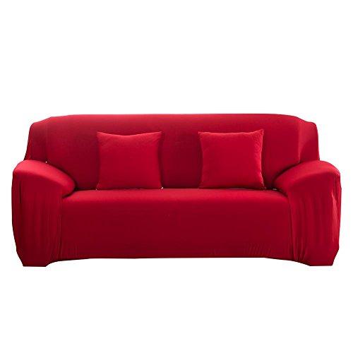 Anysell slipcover sofa cuscino elastico puro colore violaceo rosso, 2 seats