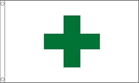 Santé et sécurité de Croix Vert Pharmacie 3m x2ft (90x 60cm) Drapeau 100% polyester + 59MM Bouton Badge