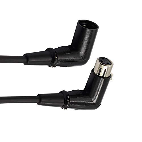 Cavo XLR da uomo a femmina ad angolo retto LoongGate - Cavo microfono segnale DMX Premium per bilancia / mixer / amplificatore / altoparlanti alimentati e altri dispositivi Pro (1 m / 3,2 piedi)