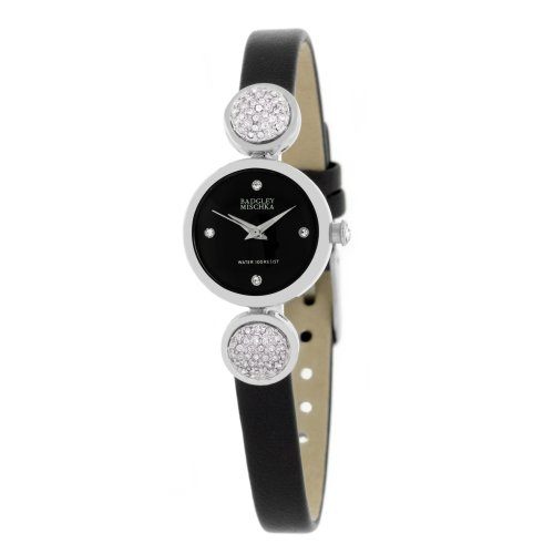 badgley-mischka-womens-ba1175bkbk-swarovski-crystals-silver-tone-black-dial-and-black-leather-strap-