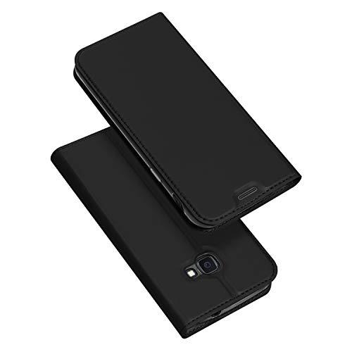 DUX DUCIS Hülle für Samsung Galaxy Xcover 4s / Xcover 4, Leder Flip Handyhülle Schutzhülle Tasche Case mit [Kartenfach] [Standfunktion] [Magnetverschluss] (Schwarz)