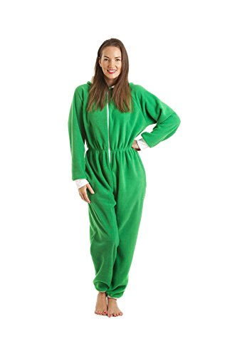 Combinaison pyjama à capuche en polaire - femme - vert - taille 38 à 52 Vert