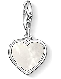 Thomas Sabo Women's 925 Sterling Silver Charm Moon Mother of Pearl Club Pendant 1536-029-14