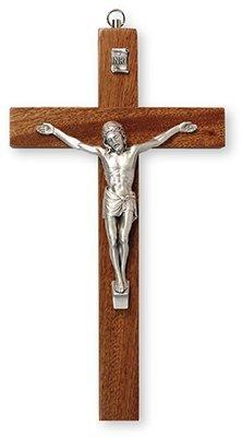25cm Mahagoni Wand zum aufhängen Holz Kruzifix Kreuz Silber Jesus 10591