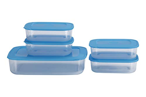 All Time Basic Plastic Container Set, 5-Pieces, Blue