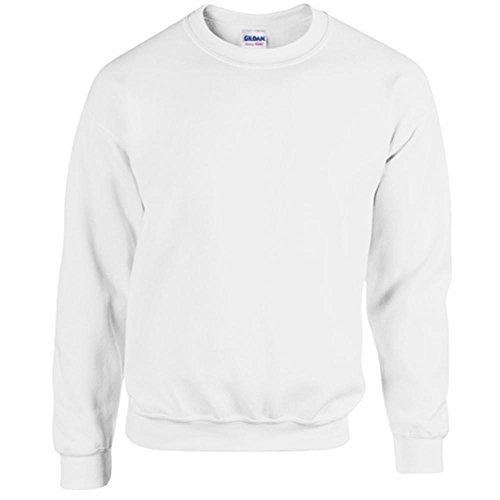 Gildan Heavy Blend Erwachsenen Crewneck Sweatshirt 18000 L, White (Pullover Blend Crewneck)