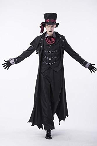 wnddm Costumi di Coppia Vampiro di Halloween Costumi da Uomo Belli e sanguinosi Costumi da Donna Steampunk Uniformi da Vampiro Kit da Contessa insanguinata@Uomo_XL