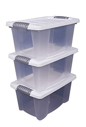 3X Stapelbox mit Deckel 14 Liter - transparent mit weißem Deckel - Multibox 40x30x20 cm