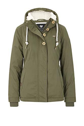 Ragwear Lynx Teddy Damen Frauen Winterjacke mit Kapuze,durchgängiges Futter, Monade, Regular Fit, wasserabweisend,Olive(5031), XL