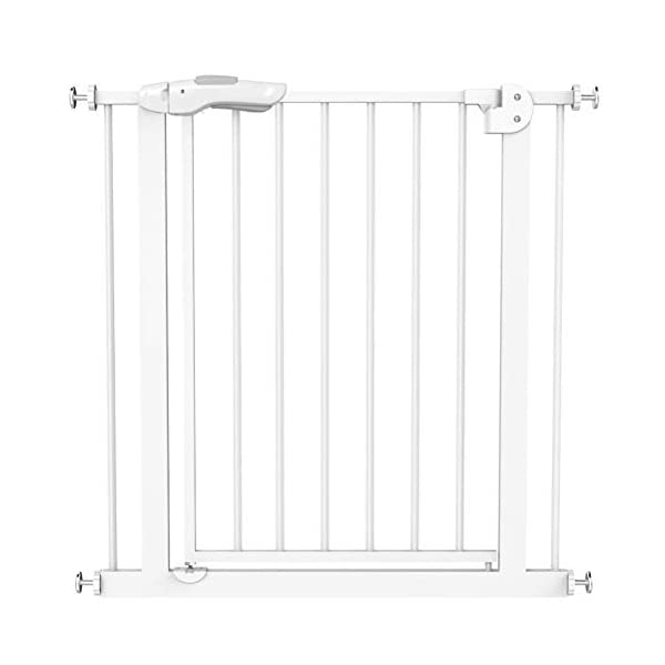 GFYWZ Pet Safety Gate for Baby Dog Cat or Other Pets for extra-wide openings, with no threshold and one-hand operation,75~86cm GFYWZ ◆ Measure your opening before purchasing: This gate fits openings 65 to 74cm/75 to 84cm. It will not fit any opening smaller than 65cm. If your opening is larger than 84cm you will require an additional purchase of an extension. ◆ One handed operation - the one handed operation is fantastic for times when you're holding your child and the double locking feature ensures extra security to help keep your child safer. ◆ To be installed on the wall or door, Functional, lightweight and portable,Convenient walk-through design 1